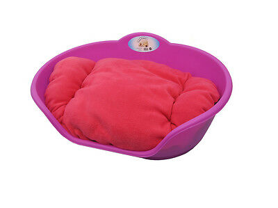 Large Plastic Pink With Pink Cushion Pet Bed - Dog/cat/animal/sleep/basket