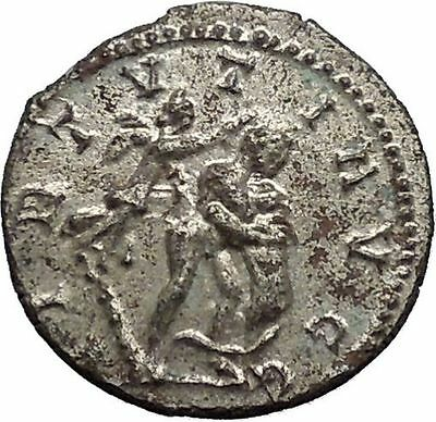 MAXIMIAN Silvered 287AD Ancient Roman Coin HERCULES NEMEAN LION Victory i41560