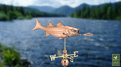 Bass with Lure Fish Weathervane - Copper Garden Wind Vane - Free Roof Mount