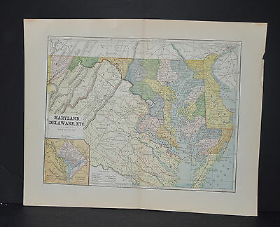 Antique Color map of Maryland and Delaware Circa 1895. Nice detail