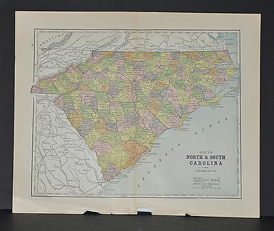 Antique Color map of North and South Carolina Circa 1895. Nice detail