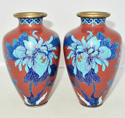 "Antique ? Pair of Chinese Cloisonne Brick Red Vases with Blue Flowers  (5.35"")"