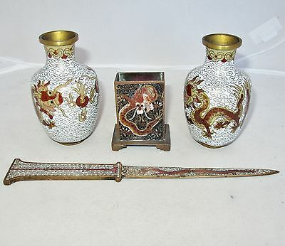 4 Antique Chinese Cloisonne Items with Celestial DRAGONS ~ Vases, Match & Opener