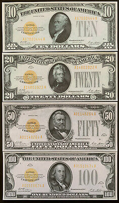 Reproductions 1928 United States Gold Certificates $10,$20,$50,$100 Copy Bills