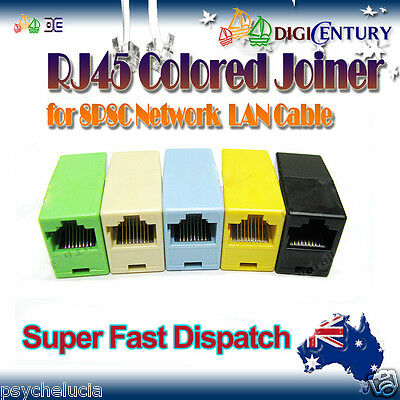 10x Colored RJ45 8P8C Network Cable Joiner Plug Coupler Connector Adapters