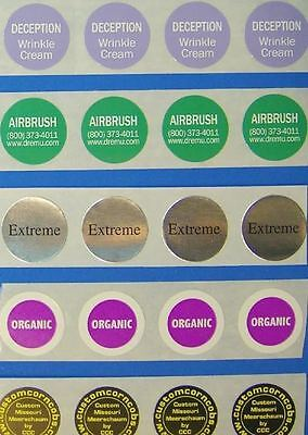 "Printed Round Labels, 250 Custom Business Stickers  3/4"" Diameter Circle 1-Color"