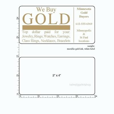 """Printed Labels Rectangle 250 Custom 2"""" x 4"""" Business Stickers, 1 ink Color, roll"""