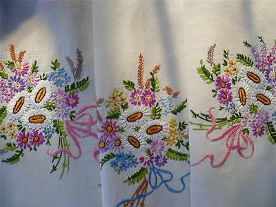 Stunning Vintage Hand Embroidered Tablecloth ~ Floral Bouquets tied with Ribbons