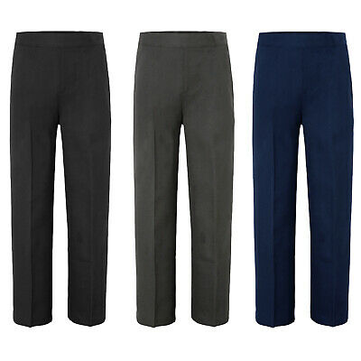 Boys Kids Children School Uniform Trousers Pull Up Half Elasticated Teflon Pants