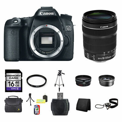 Canon EOS 70D Digital SLR Camera w/18-135mm Lens 16GB Full Kit
