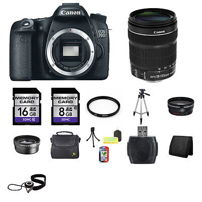 Canon EOS 70D Digital SLR Camera w/18-135mm Lens 24GB Full Kit
