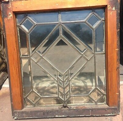 Rare & Beautiful Pr Arts & Crafts All Heavy Bevel Arrow Windows