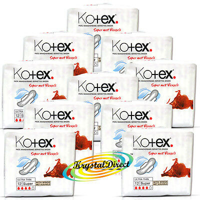 12x Kotex Ultra Thin 12 Super With Wings Sanitary Protection Silky Soft Pads