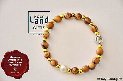 OLIVE WOOD religious BRACELET ONE DECADE GOLDEN PEARL BEADED HOLY LAND