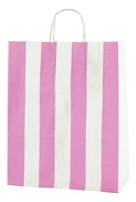 Pink & White Striped Twisted Handle Kraft Paper Carrier Bags
