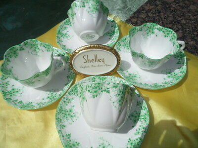SHELLEY  DAINTY   GREEN  DAISY  053   CUP/SAUCER   * FOUR SETS *  -  WOW! ! ! !
