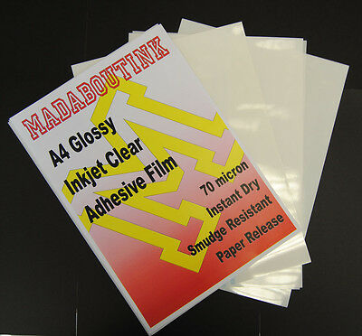 20 A4 Inkjet Printable Clear Adhesive Acetate Sticker Film Sheets 70mic