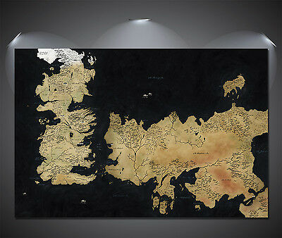 Game of Thrones Westeros Map Art Large Poster - A0, A1, A2, A3, A4 sizes