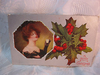 Antique 1909 Merry Christmas Victorian Woman & Holly  Postcard