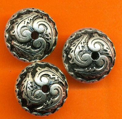 Vintage Lot of 6 Antique Silver Plated Carved Victorian 13X18MM Beads BR1