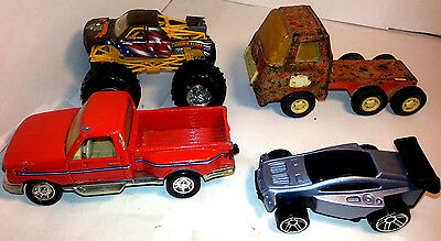 Lot of 4 Metal Vehicles w/ Accessories (including a Vintage Metal Semi!!)