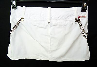 08434b182a GUESS JEANS    White Denim Mini Punk Rock Chain Goth Crossover Skirt Size