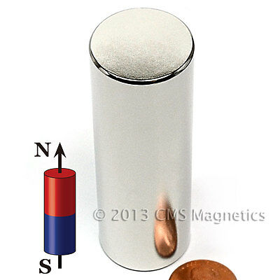 """CMS Magnetics® Super Strong N45 Neodymium Cylindrical Magnet 1""""x 3"""" 1-pc"""