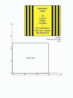 "Printed Custom Labels 250 Stickers 2.5"" x 3"" Rectangle Business 1-Color, on roll"