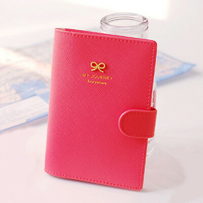 So cute Ribbon Decor NO skimming Passport Holder Case Faux Leather Travel Wallet