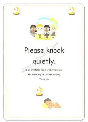 Childminder PLEASE KNOCK QUIETLY A4 POSTER EYFS Childminding resource.