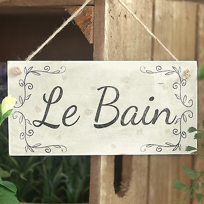 Le Bain Handmade French Country Shabby Chic Style Wooden Bathroom Sign / Plaque