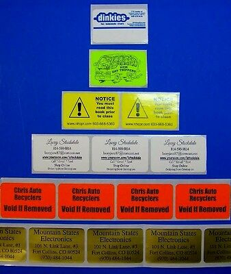 """Custom Printed Labels 250 Rectangle 1.25"""" x 2"""" Business Stickers 1-Color on roll"""