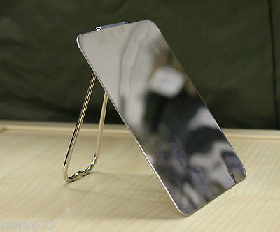Shaving / signal mirror Italian Army polished stainless steel with stand NEW