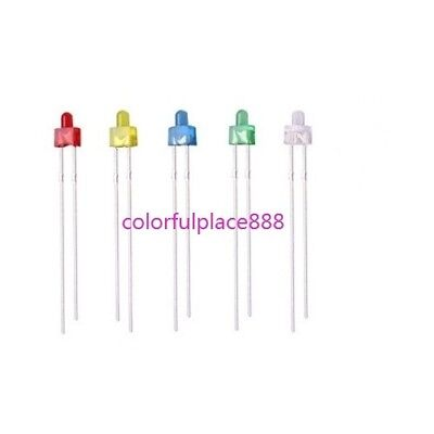 100pcs, 2mm Round Top Diffused Red Yellow Blue Green White LED Diodes Leds Light