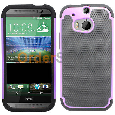 Hybrid Rubber Hard Case for Sprint Verizon AT&T Android Phone HTC One M8 Purple