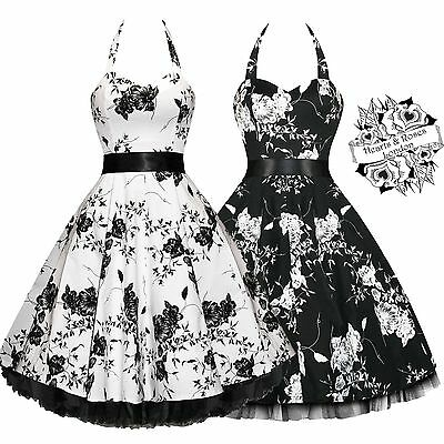 Hearts & Roses White Black Floral 50s Rockabilly Party Swing Prom Dress 8-PLUS