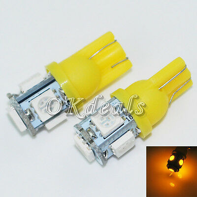2 X Yellow Super Bright T10 194 168 Amber 5 SMD 5050 LED Wedge Bulb Light Lamp