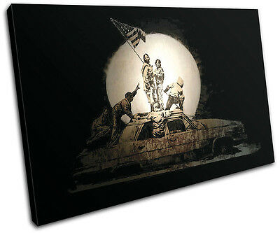Iraq Car Banksy Painting SINGLE CANVAS WALL ART Picture Print VA