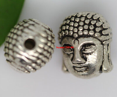 40pcs Sinicism Tibet silver Buddha Head portrait Charm Spacer Beads 11x9mm