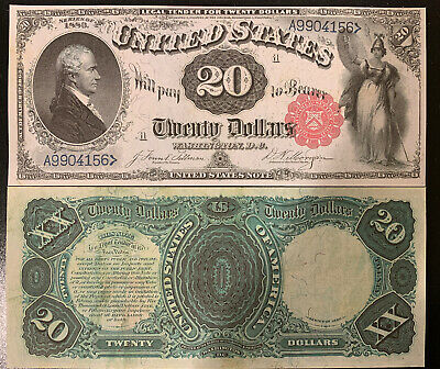 Reproduction $20 Bill United States Note 1880 Hamilton Legal Tender Note Copy