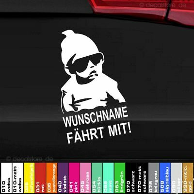 1x Autoaufkleber Wunschname fährt mit Baby on Board Sticker car decal hangover