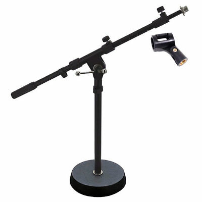 MS238 Short Solid 180mm Base Telescopic Microphone Boom Stand Mic Clip DP Stage