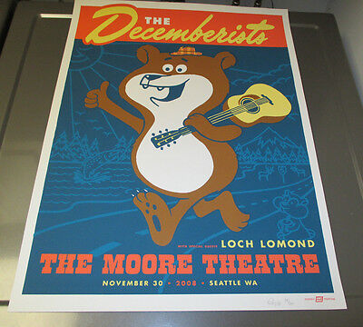 2008 DECEMBERISTS Silkscreen POSTER VF+ S/N Ames Bros. #14/250 Moore Theatre