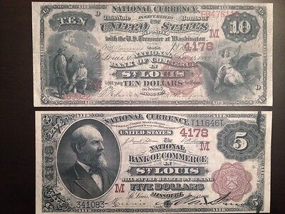 Reproduction Pair $5 & $10 Bills National Bank Note 1882 St Louis Brown Backs
