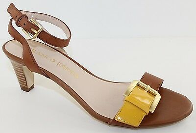 2ee4194db4de Franco Sarto Tarry Womens Caramel Yellow Leather Ankle Strap Heel Sandals  Size 8