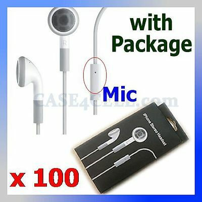 Lot 100 Earphone with Mic Headset for iPhone 4 4S 3GS Headphone with Package
