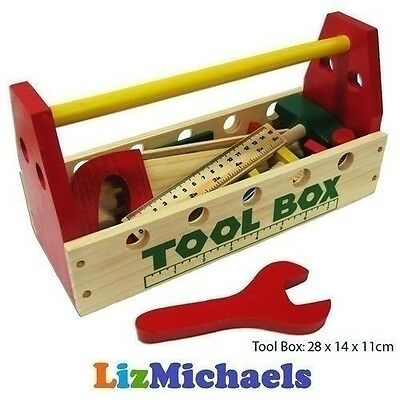 Fun Factory WOODEN TOOL SET BOX Pretend Play Kids Toys Hammer Saw Carpentry