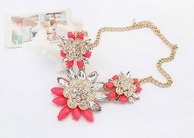 Fashion Design Rose Red Resin Rhinestone Crystal Flower Pendant Necklace