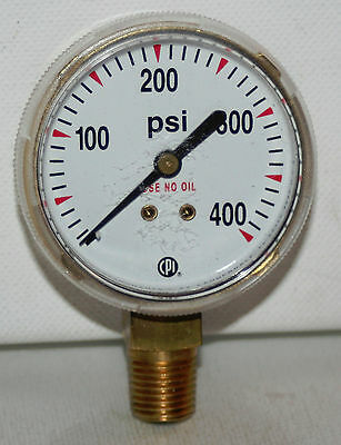 "0-400 PSI  2"" Dial 1/4""NPT Brass Pressure Gauge NEW Made In USA!!!"