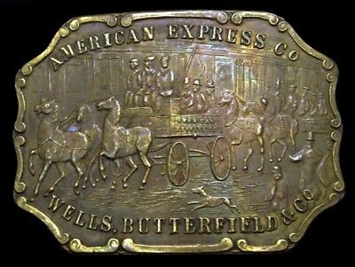 Mi20194 Vintage American Express/wells, Butterfield Solid Brass Fantasy Buckle